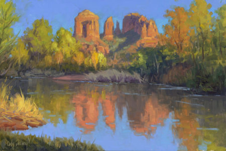 Red rock crossing in Sedona, AZ. Another great Plein Air painting by Cody Delong at Cody DeLong Studio